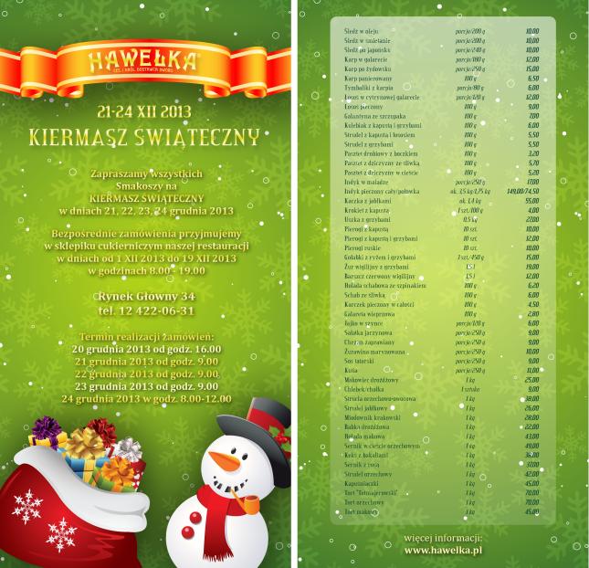 Kiermasz Bożonarodzeniowy w Hawełce