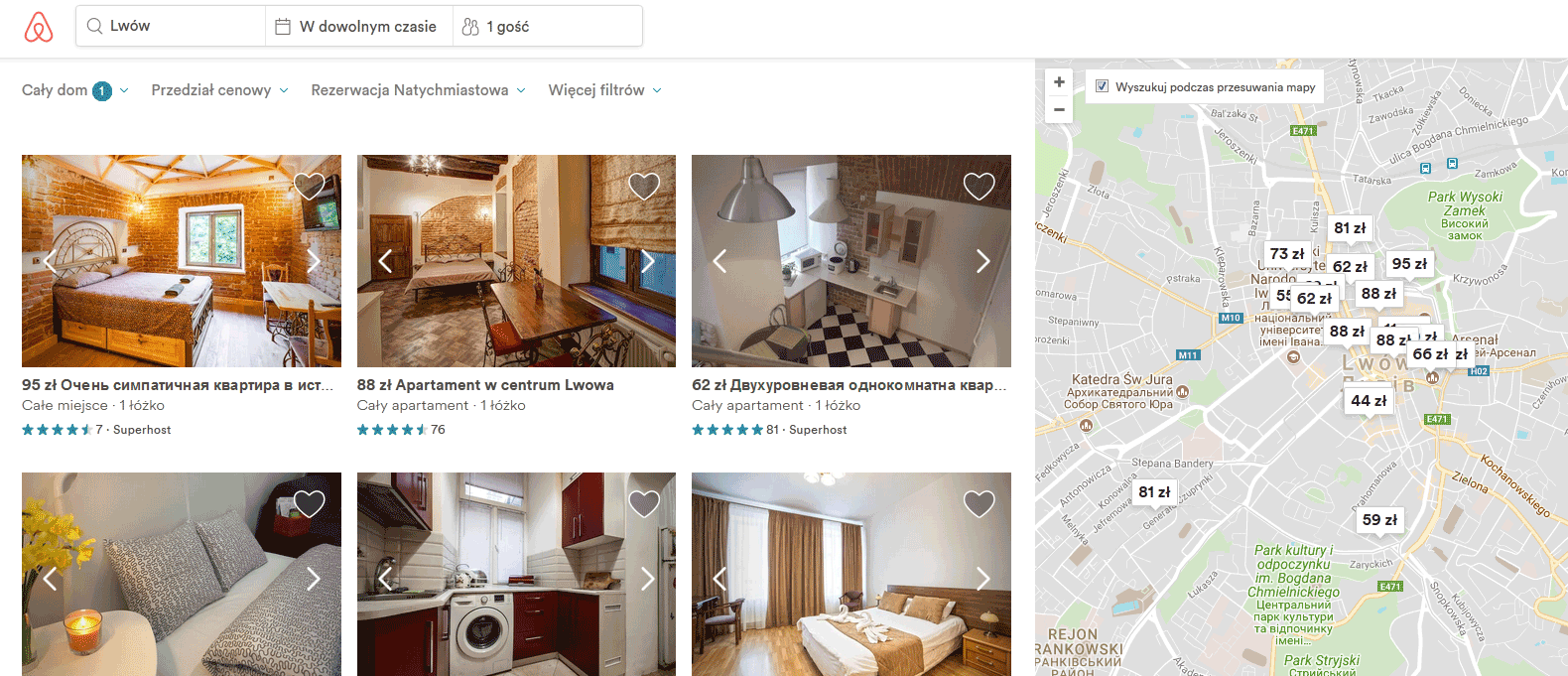 Wynajem na Airbnb - interfejs