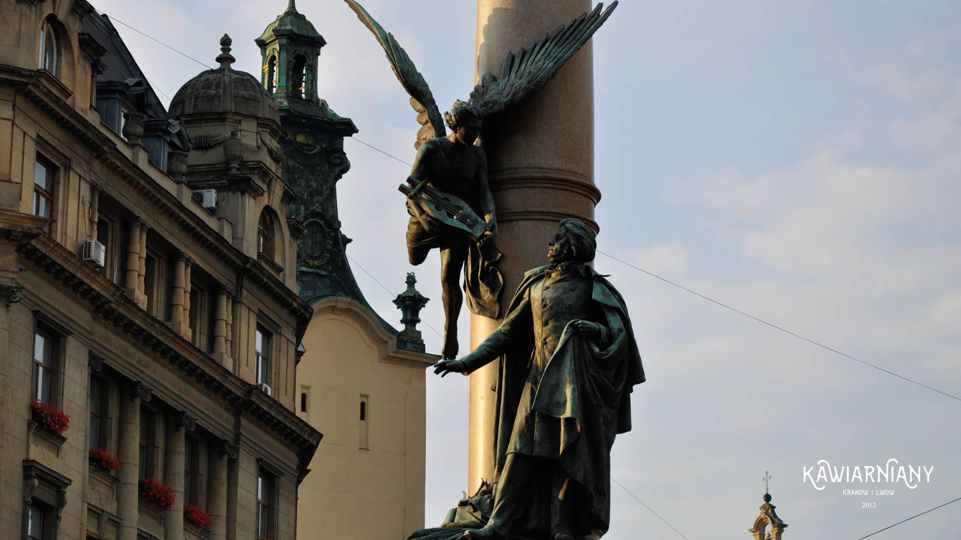 Pomnik Adama Mickiewicza we Lwowie. Na otwarcie przyjechał sam Mickiewicz!