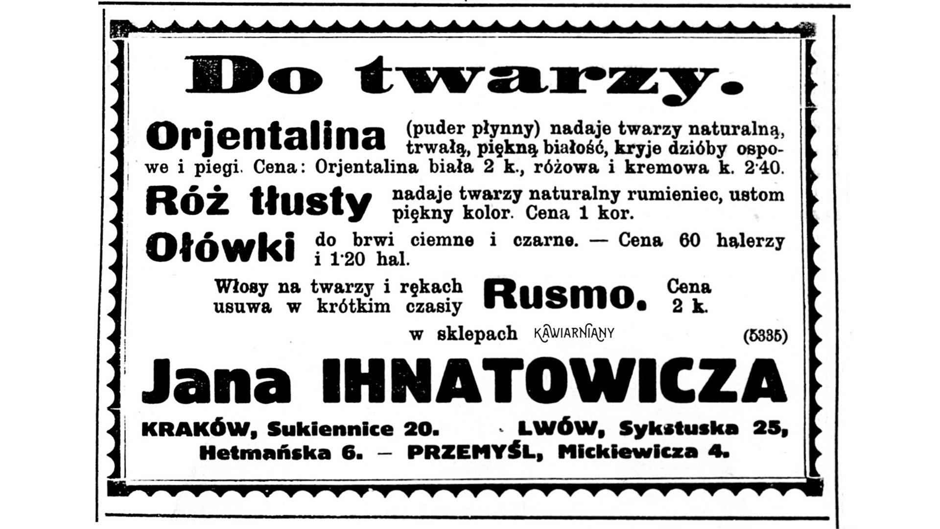 Reklama fabryki Ihnatowicza ze Lwowa