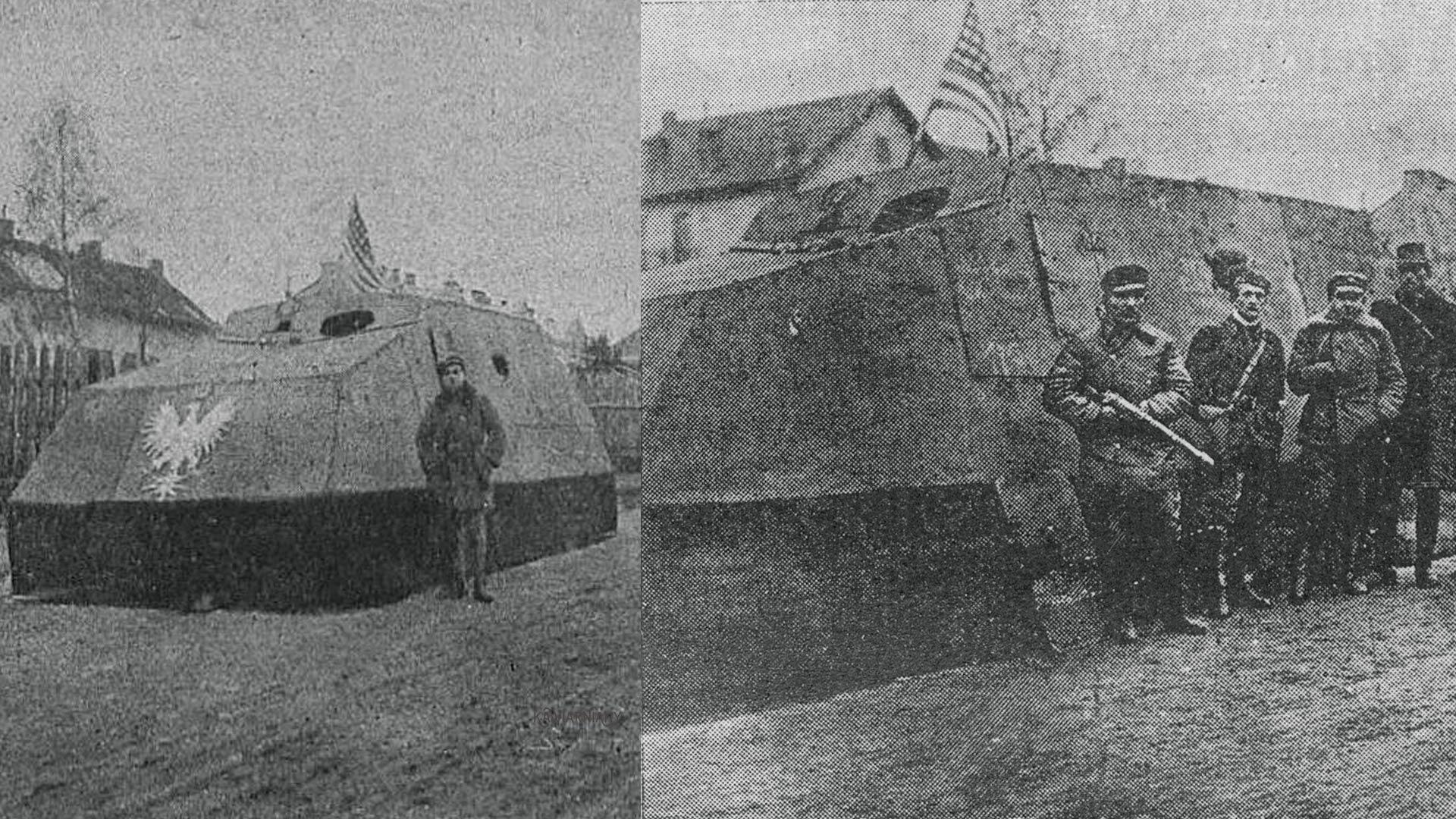 Improwizowany samochód pancerny Piłsudski. Ukończony 8 listopada 1918 roku, uszkodzony dzień później