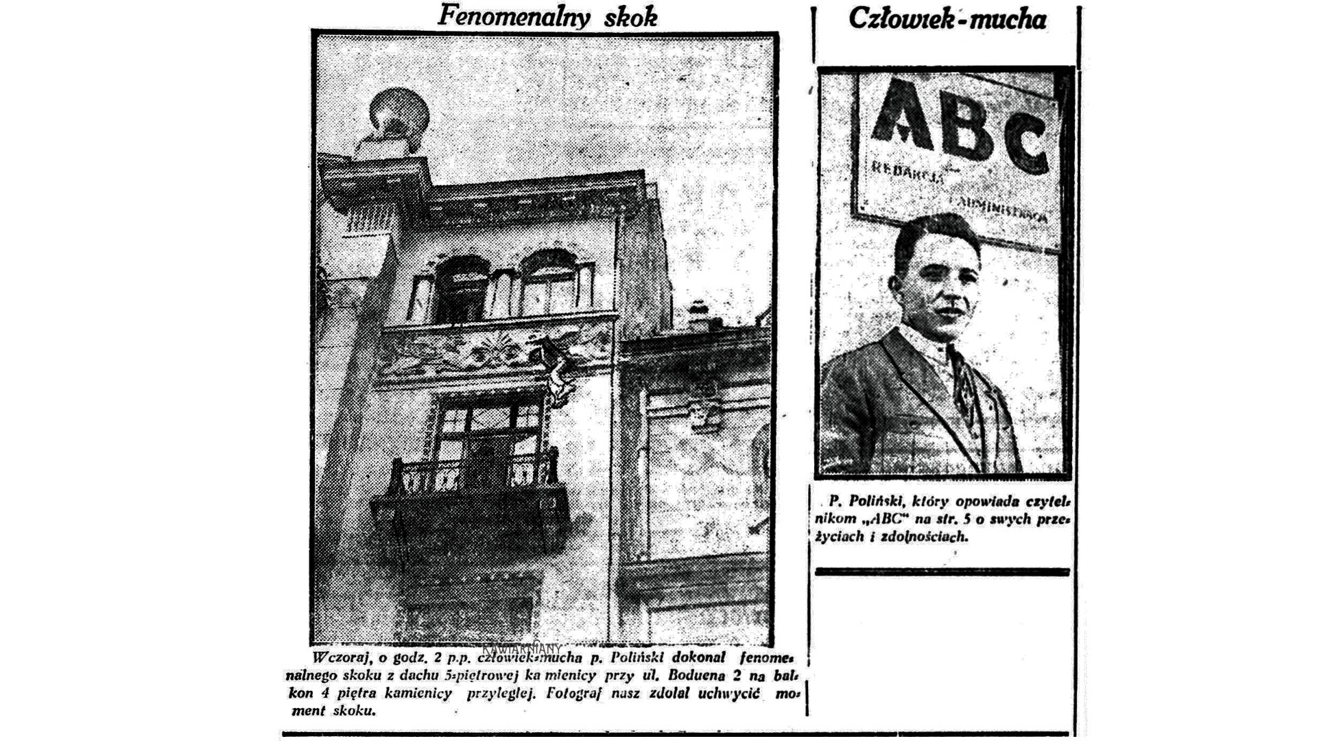 """Tak zginął Stefan Poliński – słynny """"Człowiek Mucha"""". 15 stycznia 1928 we Lwowie"""