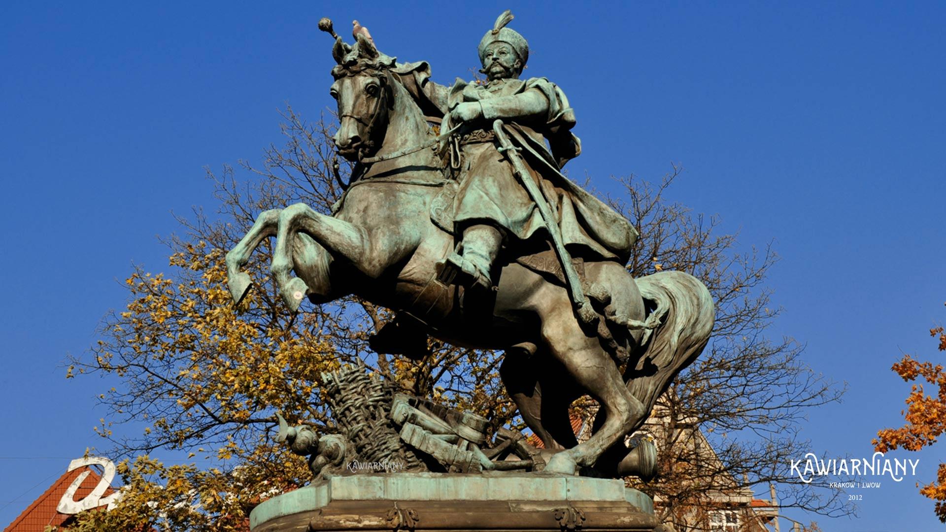 Pomnik Jana III Sobieskiego na Targu Drzewnym w Gdańsku. Przyjechał ze Lwowa