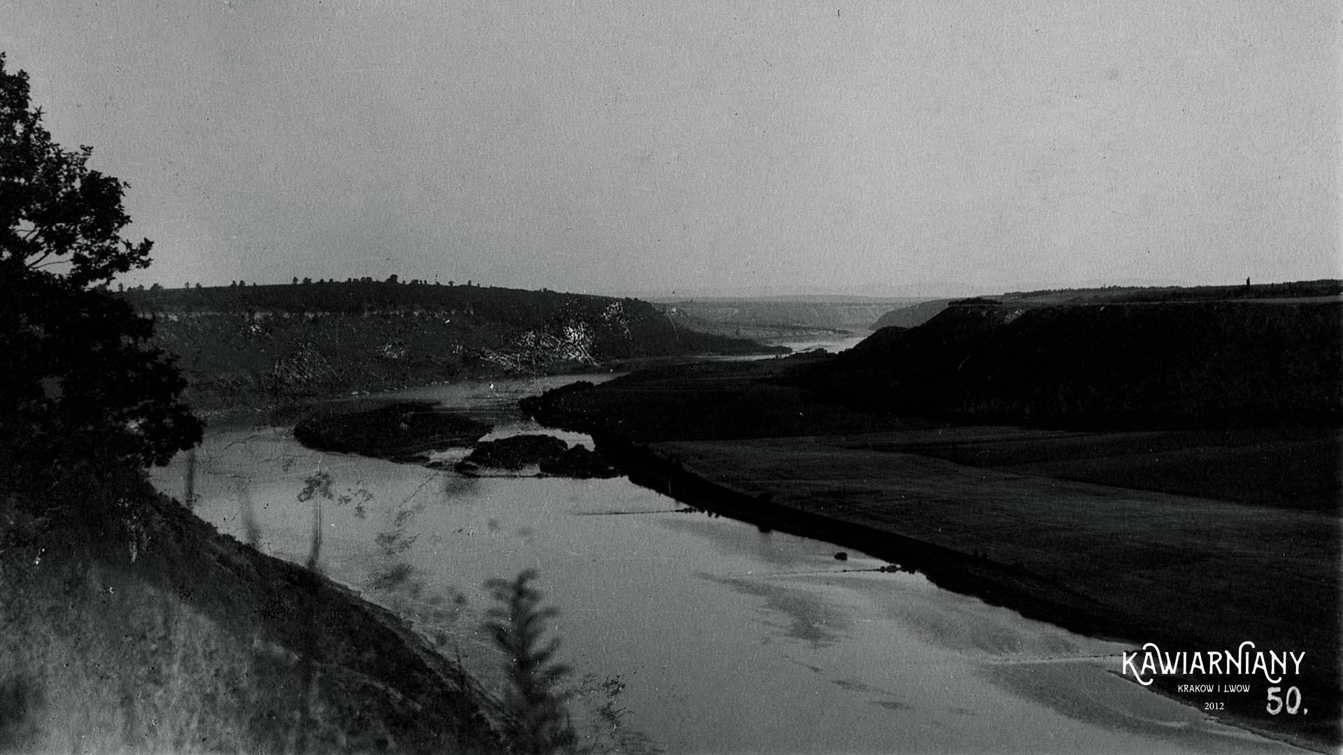 Dobrowolany, około 4 km od Zaleszczyk, Zakręt Dniestru, lata 20-te, Fot. Domena Publiczna, Maurycy Baumer