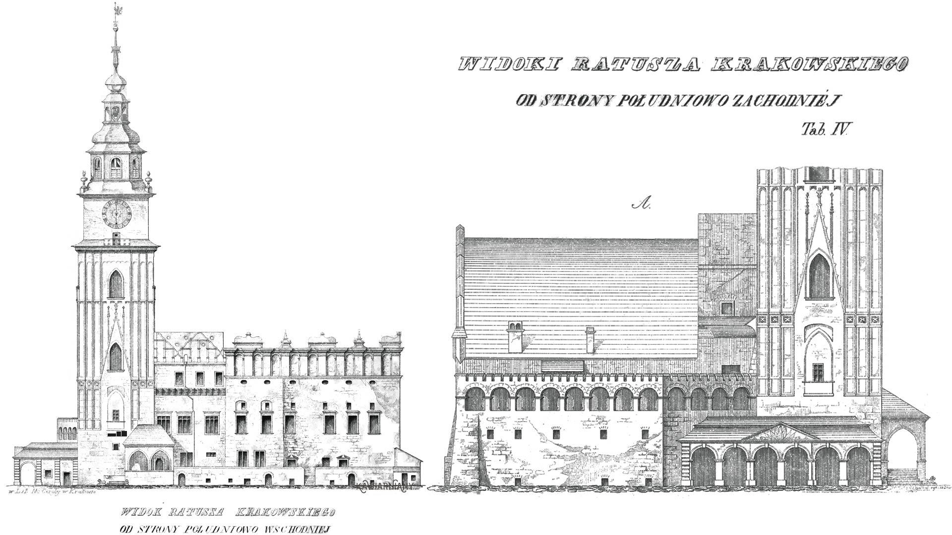 Widok krakowskiego ratusza według rysunku Karola Balickiego z 1851 roku. Rysunek dostępny w Domenie Publicznej