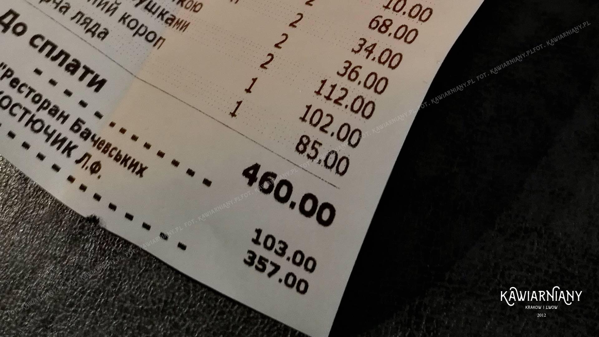 rachunek lwów restauracja baczewskich