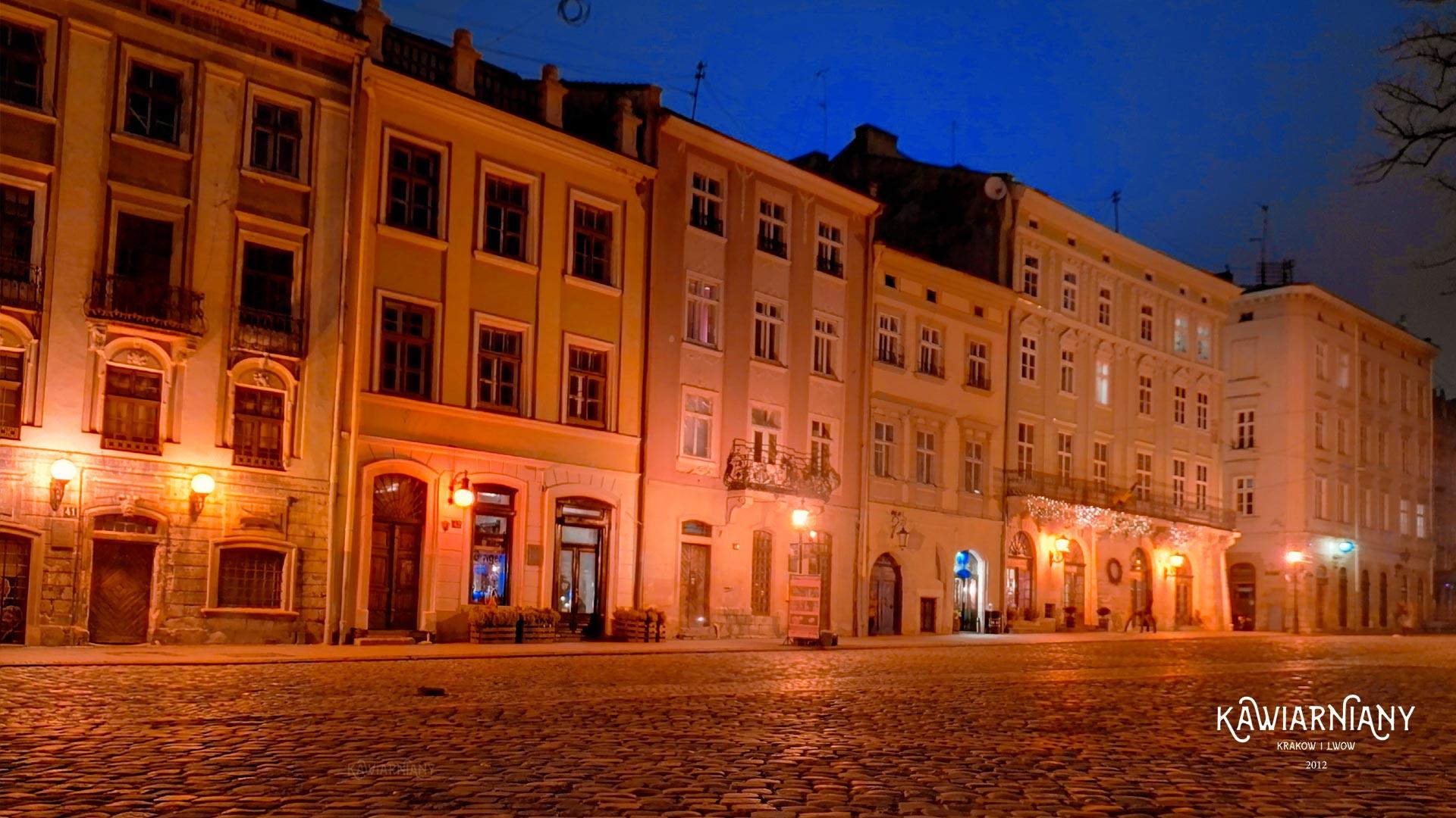 Rynek we Lwowie w nocy